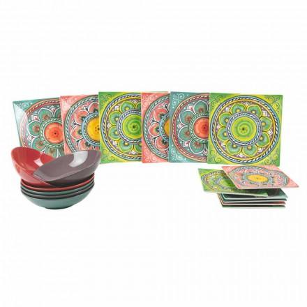 Pratos étnicos de cor quadrada em porcelana e serviço de grés 18 peças - Canárias