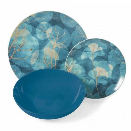 Pratos modernos em grés azul ou rosa e porcelana 18 itens de mesa - outono
