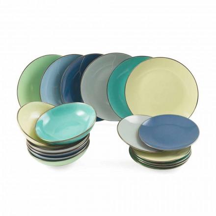 Pratos em Grés Moderno Colorido 18 Peças Serviço de Mesa Completo - Regal