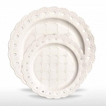 Prato Favor 12 Peças em Porcelana Branca Decorado à Mão - Rafiki