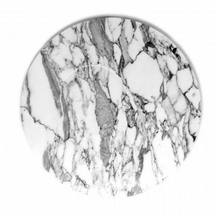Travessa de servir redonda em mármore branco Carrara Made in Italy - Kamil