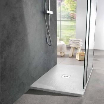 Base para ducha 100x70 em resina branca com acabamento com efeito de ardósia - Sommo