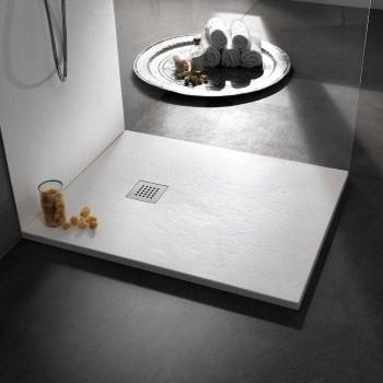 Base para ducha 100x80 em Resina Pedra Efeito Acabamento Design Moderno - Domio