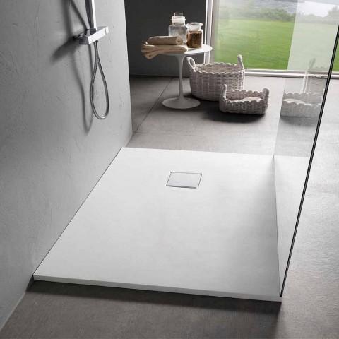 Base de banho moderna 120 x 90 em resina branca com acabamento em efeito veludo - Estimo