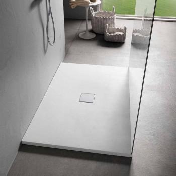 Base de banho moderna 140x70 em acabamento com efeito veludo branco - Estimo