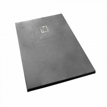 Base para ducha 140x80 com acabamento em concreto resinado e grade de aço - Cupio