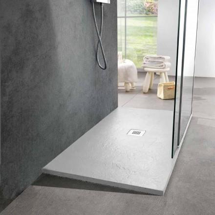Base para ducha de resina 140x80 em acabamento moderno com efeito de ardósia branca - Sommo