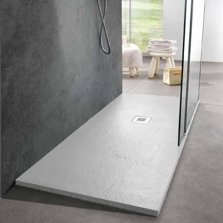 Base de chuveiro 160x70 Design moderno em efeito de ardósia de resina branca - Sommo