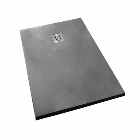 Base de chuveiro de resina de efeito concreto 170x70 com grade de aço - Cupio