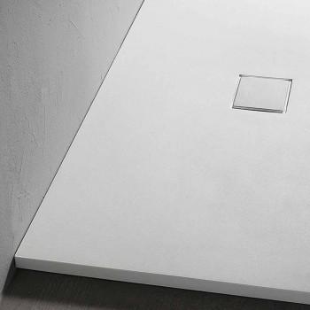 Base para ducha 90x70 em resina com efeito veludo branco com tampa de drenagem - Estimo