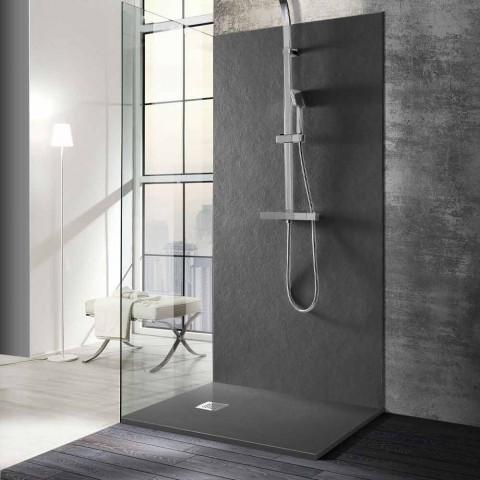 Base de banho moderna 90x80 em pedra e aço com efeito de resina - Domio