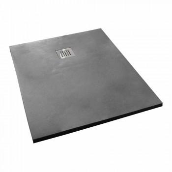 Base de chuveiro com design moderno 120x70 em resina de efeito concreto - Cupio