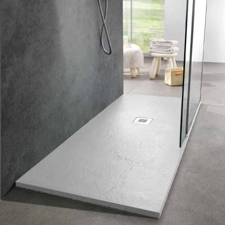 Base de chuveiro com design moderno 160x80 com acabamento em resina e efeito ardósia - Sommo