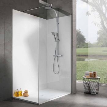 Base de chuveiro retangular de resina branca com efeito de veludo 140x80 cm - Estimo