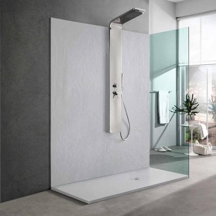 Base para ducha de resina branca com efeito de ardósia 170x70 Design moderno - Sommo