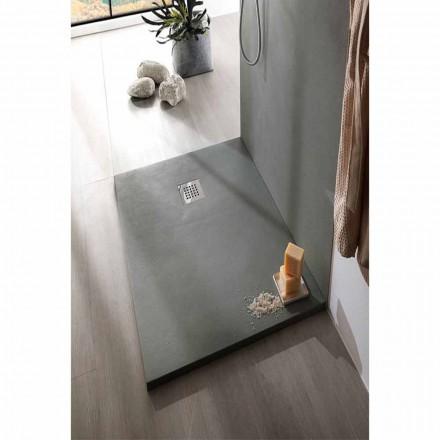 Base de chuveiro de resina de efeito concreto 140x90 Design moderno - Cupio