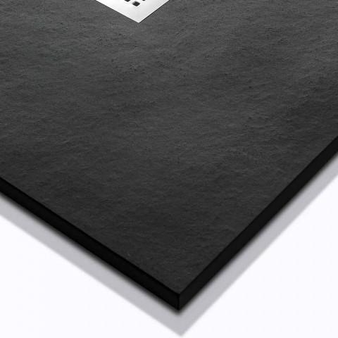 Base de chuveiro moderna 120x80 em pedra e aço com efeito de resina - Domio
