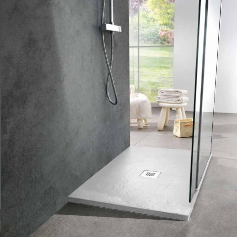 Base de banho moderna 90x70 em Resina Branca Efeito Ardósia - Sommo