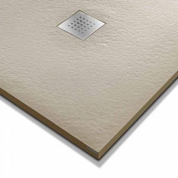 Base de chuveiro quadrada moderna 90x90 em resina com efeito de pedra - Domio