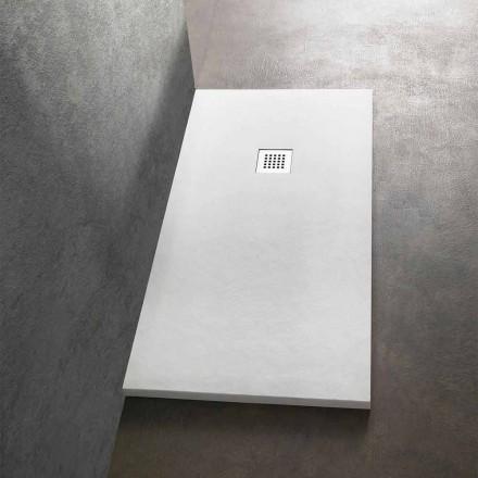 Base de banho retangular moderna 160x80 em resina com efeito de pedra - Domio