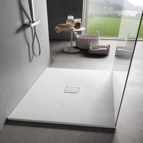 Base de chuveiro quadrada 80x80 cm em efeito veludo de resina branca - Estimo