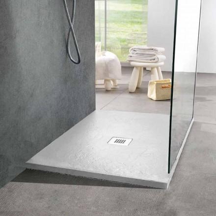 Base para ducha quadrada 80x80 em resina e aço com efeito ardósia branca - Sommo
