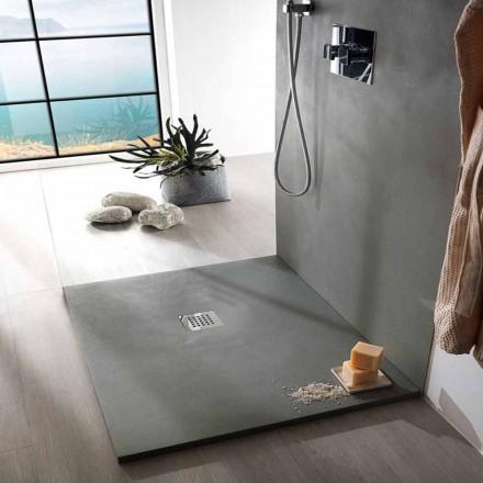 Base para ducha quadrada 80x80 em resina de concreto com design moderno - Cupio