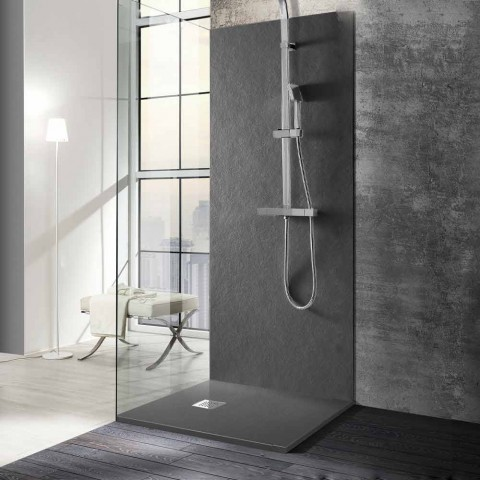 Base de chuveiro quadrada 80x80 em resina com acabamento moderno com efeito de pedra - Domio