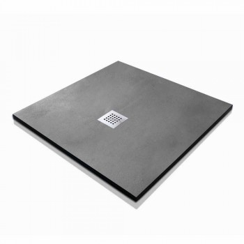 Base quadrada para chuveiro com efeito de concreto 90 x 90 com grade de aço - Cupio