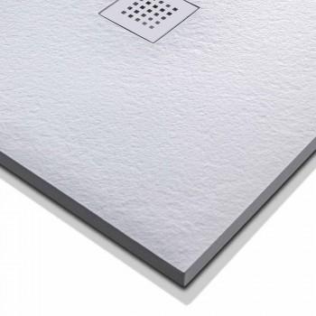 Base de duche retangular 140x80 em resina com grelha de aço - Domio
