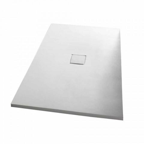 Base de chuveiro retangular 140x90 cm em efeito veludo de resina branca - Estimo