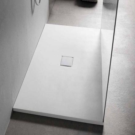 Base de duche retangular 160x70 cm em resina branca com design moderno - Estimo