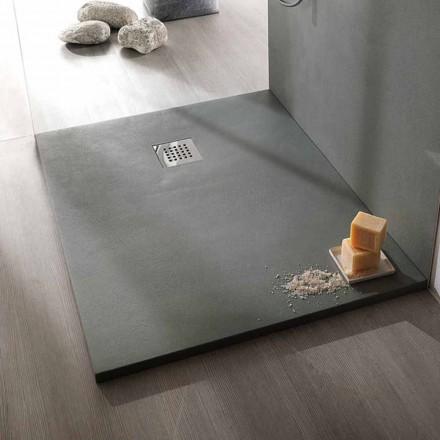 Base de duche retangular moderna em Efeito Resina Betão 90x70 cm - Cupio