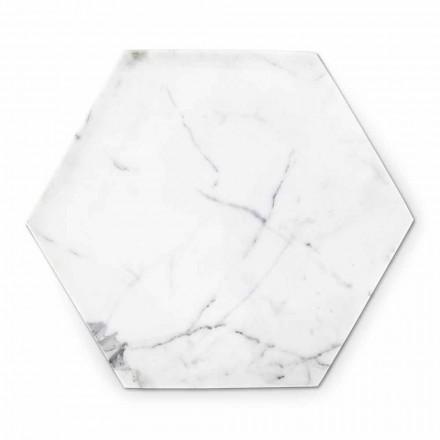 Placa de design hexagonal em mármore branco de Carrara fabricado na Itália - Sintia