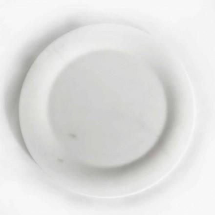 Placa plana em mármore estatuário branco brilhante de Made in Italy Design - Brandy