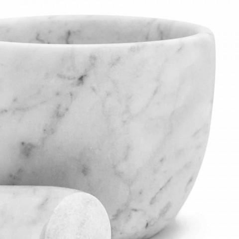 Almofariz pequeno com pilão em mármore branco de Carrara fabricado na Itália - Mirel