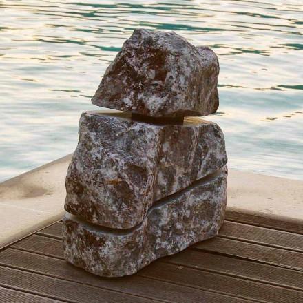 Pedra luminosa em mármore Fior di Pesco Carnico com Cruz Led, peça única