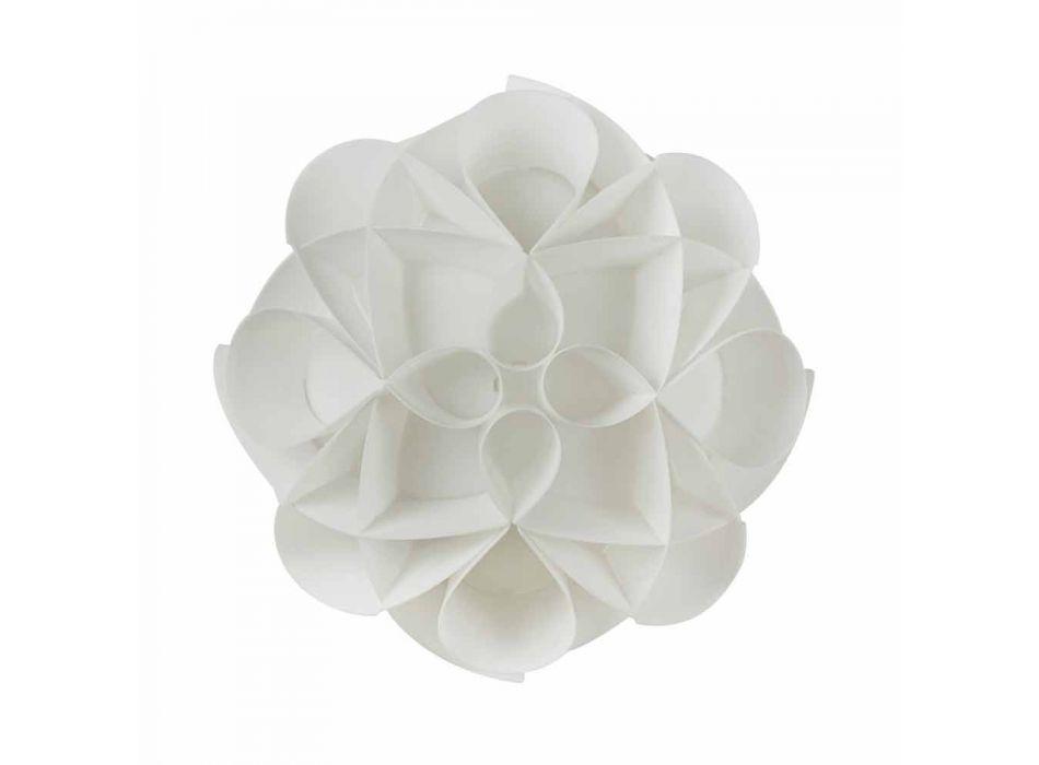 Lâmpada de teto 2 luzes design branco pérola moderno, diam.43cm, Lena
