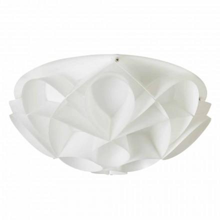 2 luzes de teto modernas Lena, acabamento em branco pérola, 43 cm de diâmetro.