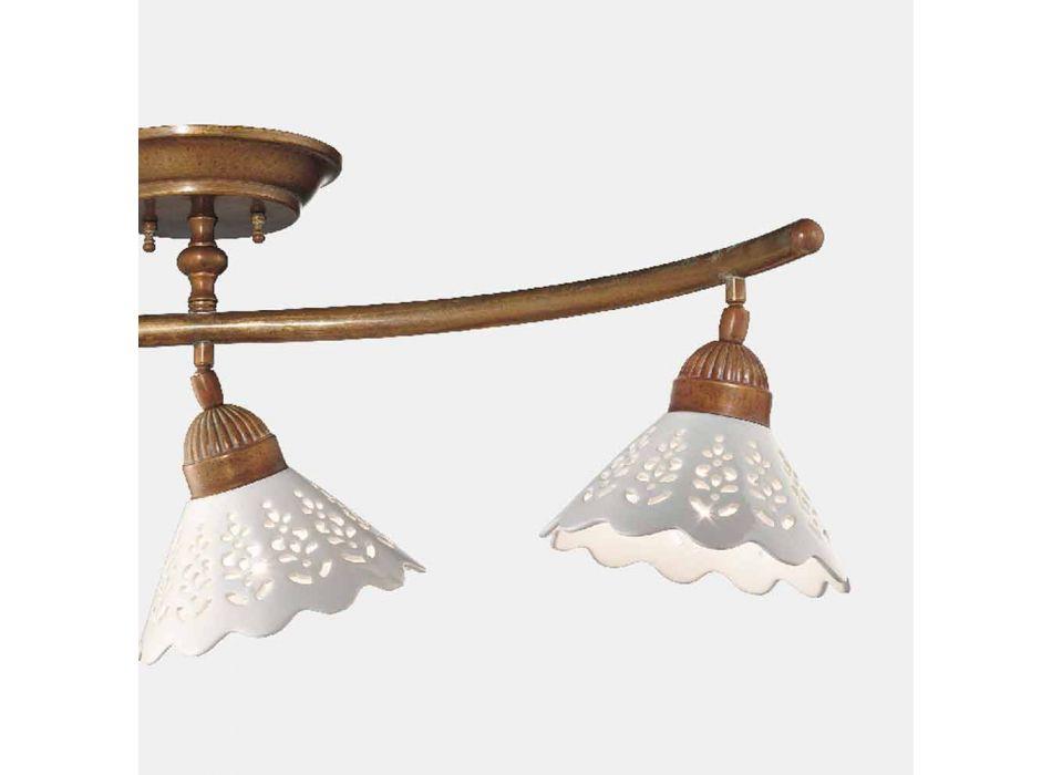 3 Luzes Candeeiro de Teto em Latão e Cerâmica Perfurada - Fiordipizzo by Il Fanale