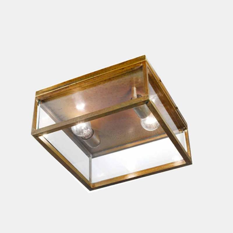 Abajur de 2 lâmpadas para teto externo em latão e vidro vintage - Estrutura de Il Fanale