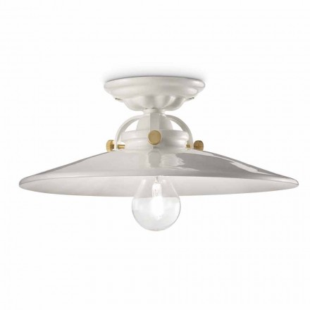 Luminária de teto design em cerâmica e com parafusos dourados Louise by Ferroluce