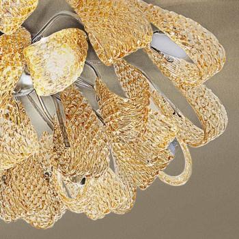 Abajur de vidro veneziano e metal, feito à mão na Itália - Diamonique
