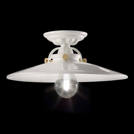 Lâmpada de teto design vintage em cerâmica polida e com parafusos de ouro Elsa
