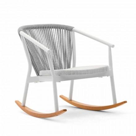 Poltrona de balanço ao ar livre em madeira maciça e tecido - Smart por Varaschin
