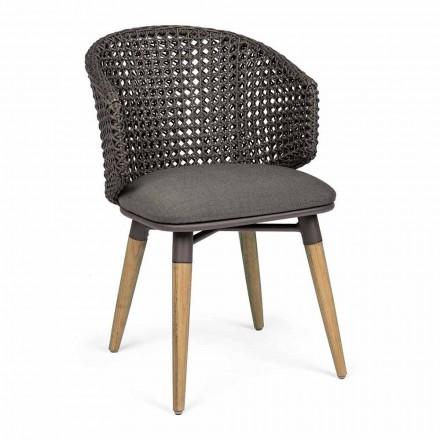 Poltrona de Jardim com Pernas de Teca e Assento de Tecido Homemotion - Chantall