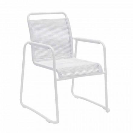 Cadeira de jardim em alumínio branco Design moderno empilhável - Wisky