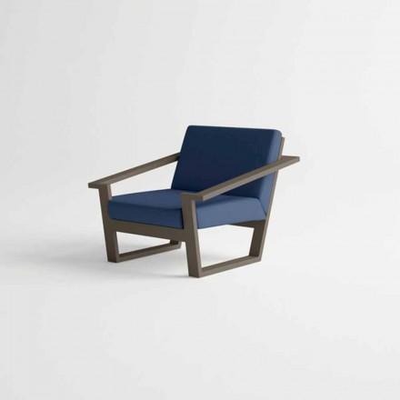 Cadeira de jardim em alumínio marrom e almofada de tecido azul - Louisiana2