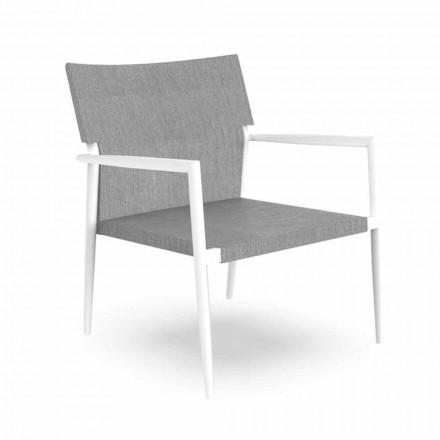 Poltrona de jardim moderna em alumínio e textilene cinza - Adam by Talenti