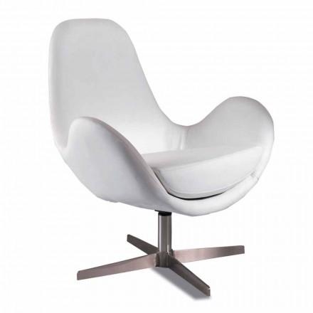 Poltrona estofada e giratória em couro sintético para sala de estar, Design moderno - Gajarda